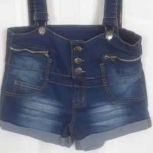 V.I.P. high waisted denim overall jean  shorts